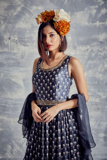 Navy Blue printed long dress in natural fibre weaved In satin with beautiful neck line & detachable hand embroidered belt teamed with organza spiral scarf