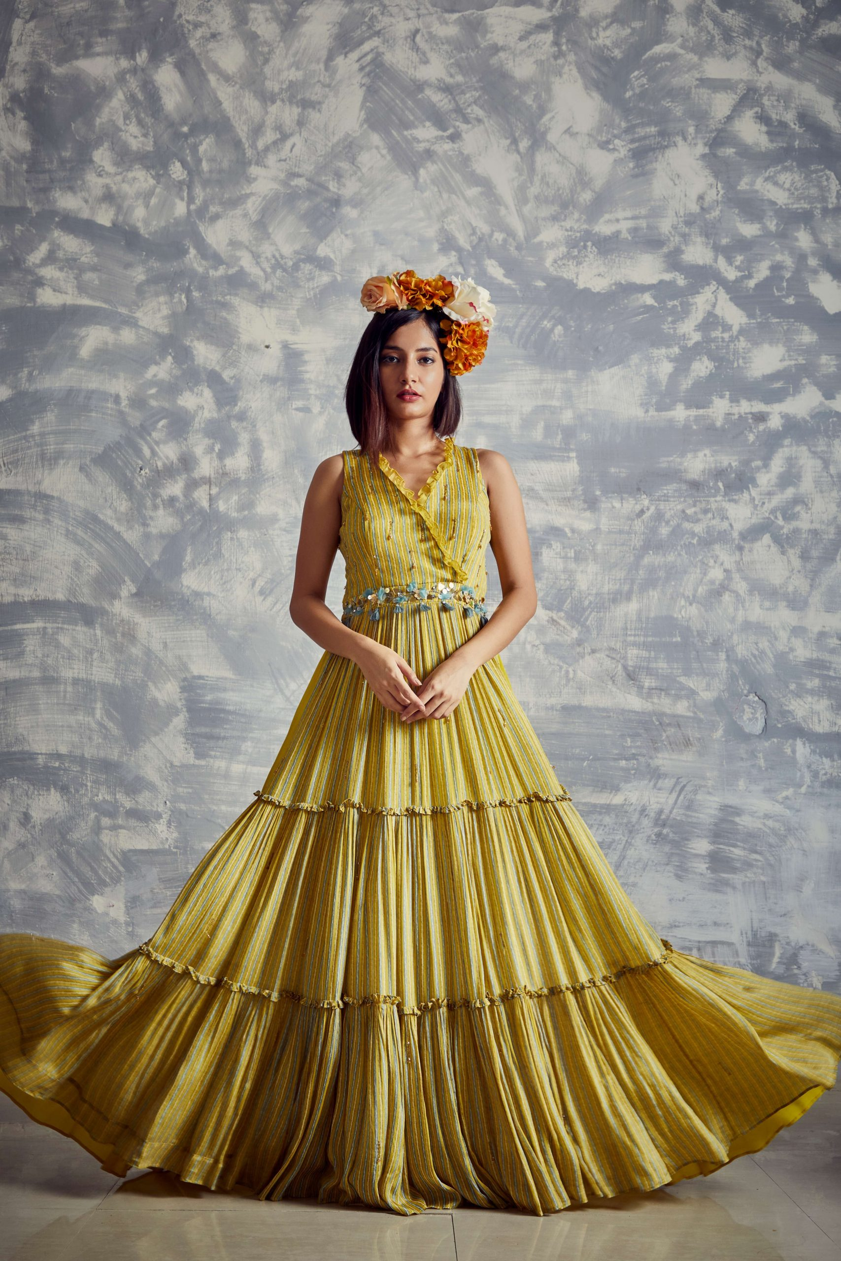 Corn yellow Printed Tiered long dress made in natural fibre flowy chiffon with mosaic embroidery on belt