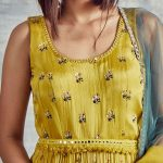 Corn yellow chiffon long dress in delicate floral prints with intricate hand embroidery & mirror work on belt
