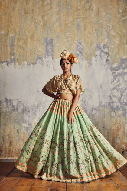 Sea Green printed lehenga in checkered crop top with delicate hand embroidery and spiral organza dupatta