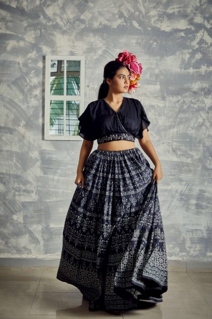 1807_01_charcoal flared & printed lehenga with delicate motifs and hand embroidered wrapped Tussar crop top