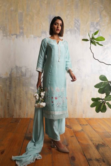 Mint blue printed long kurta in Linen satin with highlighted hand work teamed with Chiffon lace dupatta and Linen satin pantsMint blue printed long kurta in Linen satin with highlighted hand work teamed with Chiffon lace dupatta and Linen satin pants