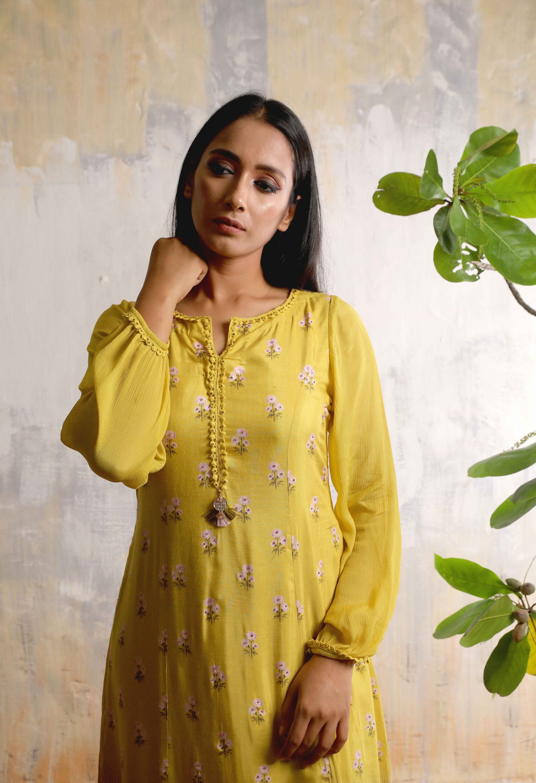 Mustard Yellow Cotton silk A-line long dress with small floral prints , beautiful neckline and Chiffon Balloon sleeves