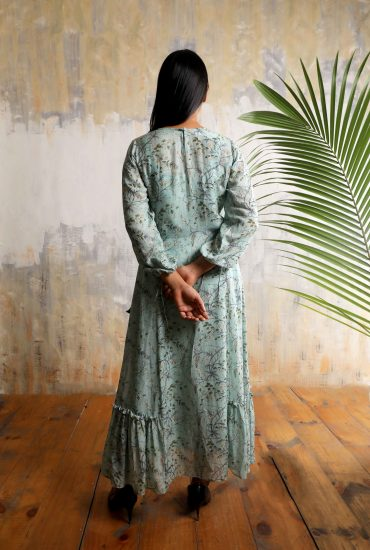 Mint green printed long dress in Linen with balloon sleeves in Chiffon and gota patti work on yoke