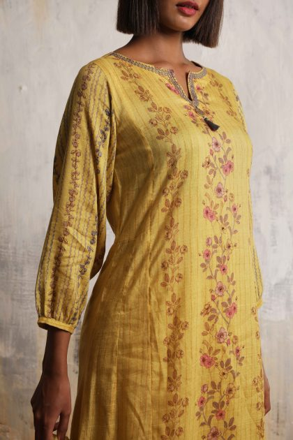 Mango yellow long printed dress with balloon sleeves in Linen with beautiful embroidered neckline teamed with Chiffon scarf and Linen satin flared pants
