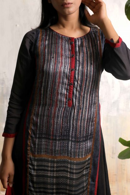 Iron grey kurta style one piece printed long dress in Tussar with Crimson red scarf , smart buttons and detailed hand work