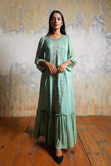 Sea green A-line printed long dress in Linen with balloon sleeves and beautiful hand embroidered neckline