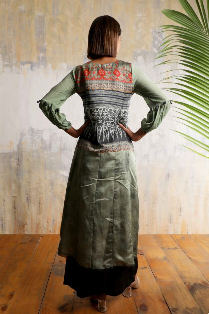 Olive green smart long printed tunic in Linen satin with Chiffon balloon sleeves and detailed handwork teamed with Olive green Linen satin flared pants.