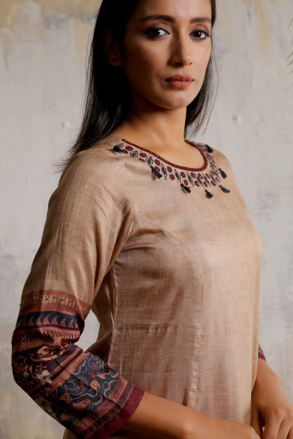 Biscuit brown and deep wine printed one piece long dress with beautiful embroidered neckline on Tussar.