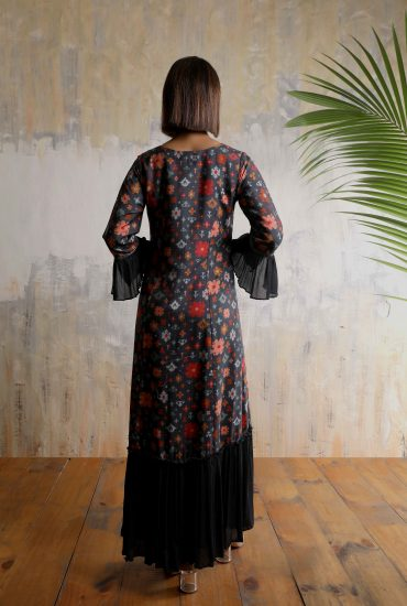 Charcoal A-line long dress in Tussar with Ikat motifs and intricate gota patti hand work on neckline.