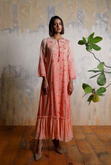 Ombre rose pink printed A-line long dress in Linen with beautiful hand embroidered neckline and front tie-up