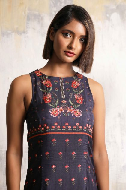 Midnight blue one piece long dress with beautiful floral motifs in natural fibre Tussar with detailed handwork in front