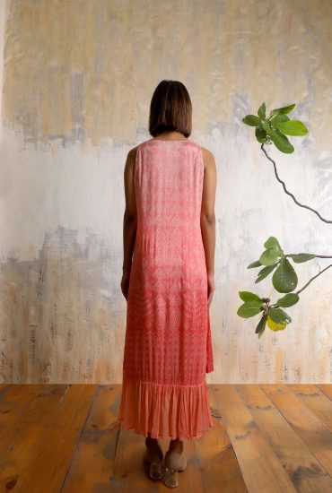 Watermelon pink bandhani printed slip dress in Chiffon with front tie-up tassels and detailed handwork