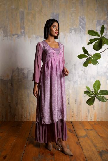 Lilac bandhani printed long printed two style long dress in crepe with detailed handwork on yoke