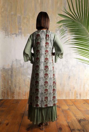 Olive green printed two piece long dress in Royal Silk. The asymmetry jacket has detailed handwork on it.