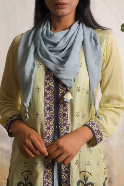 Tea green printed jacket with Lava grey A-line dress in Tussar with highlighted handwork and teamed with Chiffon scarf