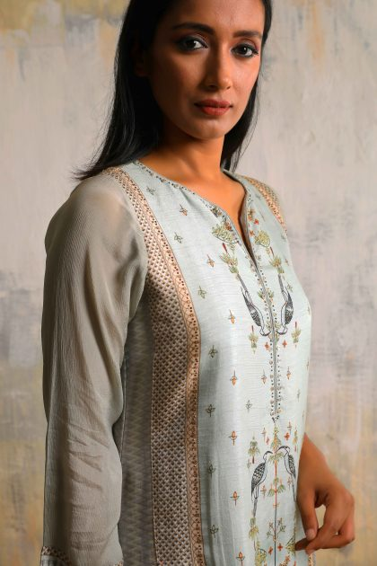 Mint green and grey kurta in Tussar with a long printed inner dress with highlighted hand embroidery and Chiffon scarf
