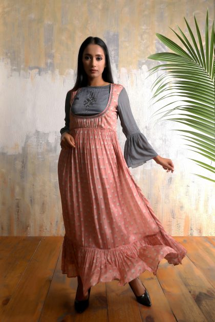 Salmon pink and Steel grey long one piece cut out dress in Chiffon with beautiful detailed handwork on yoke