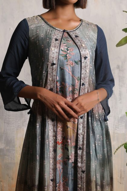 Grey printed two piece long dress in Chiffon and Tussar with mosaic handwork on the jacke