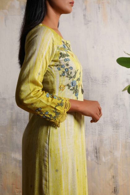Lime green printed A-line long dress in Linen with beautiful hand embroidered yoke and scallops sleeves